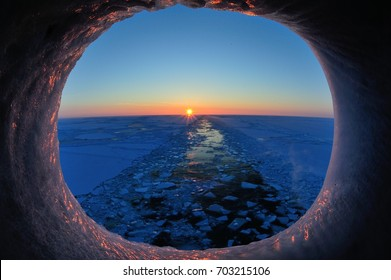 Ice canal viewed from the vessel hawse.