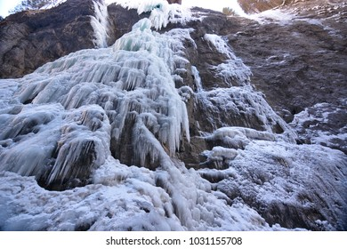 Ice cascades in the cold winter
