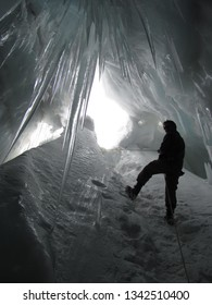 Ice cave in a cravas