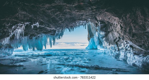 Ice cave, Lake Baikal, Winter landscape