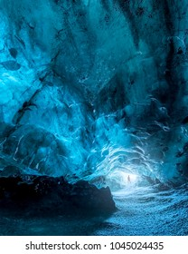 Ice cave at the Vatnajokull Glacier, the largest glacier in Europe, near Jokulsarlon, Iceland