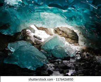 Ice caves collapsing underneath the Mendenhall Glacier in Juneau, Alaska