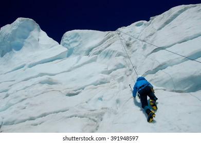 Ice Climbing a Glacial Crevasse on Mount Baker