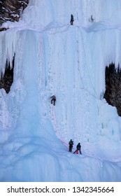 Ice Climbing Lake Louise Waterfall Frozen Canada