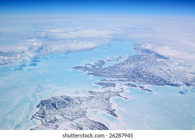 ice coast of greenland with blue shades