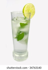 Ice coctail with mints leaves