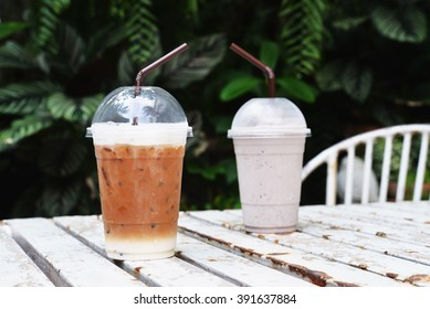 ice coffee and chocolate milk frappe