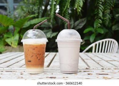 ice coffee and cookies and cream milk frappe