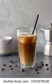 Ice coffee with cream. Cold drinks. Vegetarian food. Healthy eating