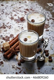 Ice coffee with cream.  Selective focus