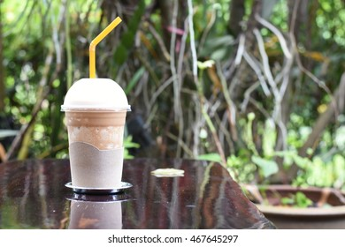ice coffee in the garden