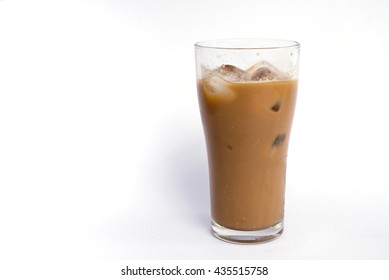Ice coffee in glass.