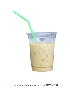ice coffee in glass islated on white background.