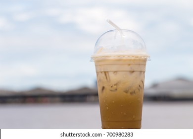 ice coffee to go  on table
