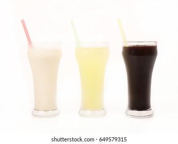 Ice coffee,  milk and lemon