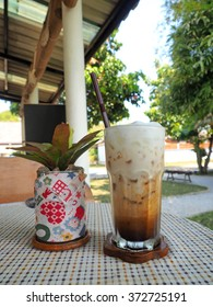 Ice coffee on a table