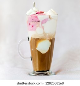 Ice coffee with vanilla and cherry