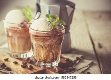 Ice coffee with vanilla ice cream, copy space