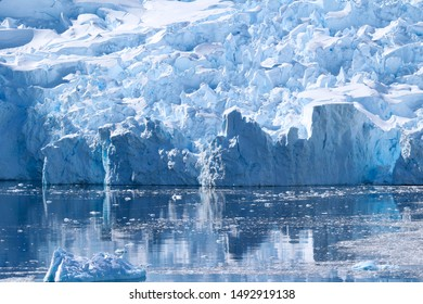 Ice cracks in a glacier along the coasts of the Lemaire Channel in the Antarctic Peninsula, Antarctica