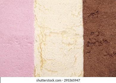 ice cream background with strawberry, vanilla and chocolate