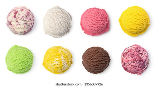 ice cream ball isolated on white background - Shutterstock ID 1356009926