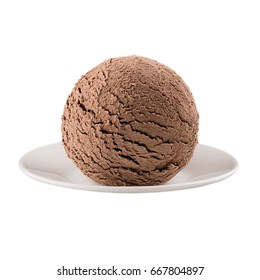 Ice cream brown chocolate scoop on plate, isolated on white background.