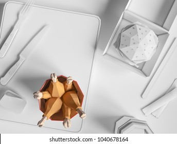 Ice cream from cardboard on papper background. Cartoon food product packaging and delivery Food concept. 3D model render