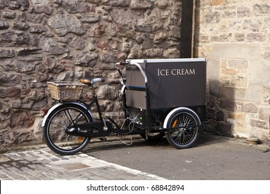 An ice cream cart is built on a bicycle in Edinburgh.