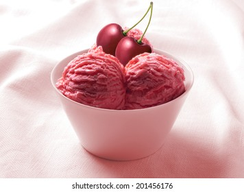 Ice Cream Cherry in the ceramic cup