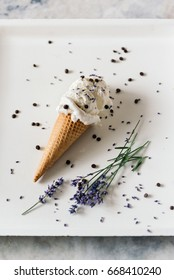 Ice cream with chocolate and lavender