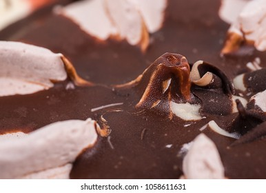 Ice cream with chocolate pieces, macro photography