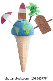 Ice cream cone with atlas map and vacation items including vacation painted on beach post, parasol and palm tree