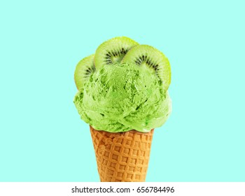 Ice cream cone of kiwi flavor, with copy space to add text, good to use as flayer or poster