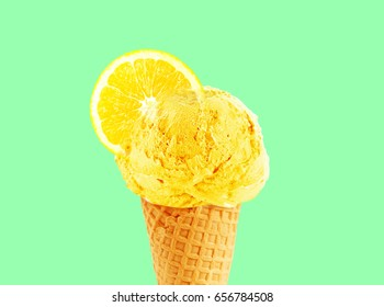 Ice cream cone of lemon flavor and lemon slice, with copy space to add text, good to use as flayer or poster