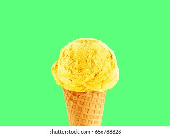 Ice cream cone of lemon flavor, with copy space to add text, good to use as flayer or poster