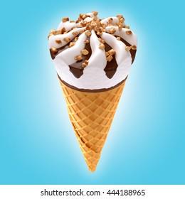 ice cream cone on blue background / 3D illustration
