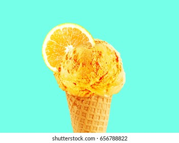 Ice cream cone of orange flavor with orange slice, and copy space to add text, good to use as flayer or poster