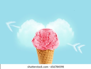 Ice cream cone of strawbeery flavor, with copy space to add text, I love ice cream concept