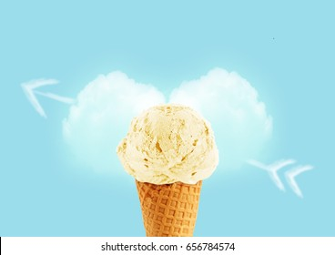 Ice cream cone of vanilla flavor, with copy space to add text, I love ice cream concept