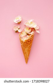 Ice cream cone with vanilla flowers