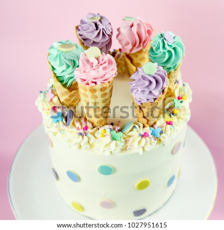 Ice Cream Cones Birthday Cake On A Pink Background