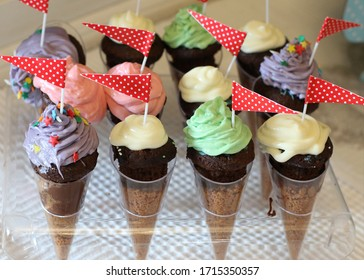Ice cream cones for a party, decoration of a birthday dessert.
