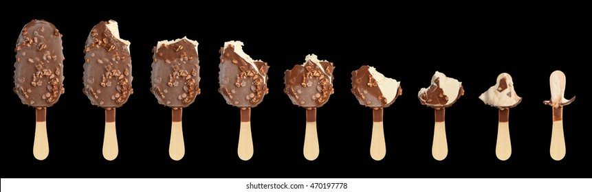 Ice cream in different stages of eating. Isolated on black background