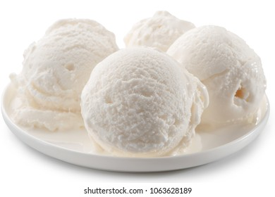 ice cream dish with four scoops close-up isolated on white background