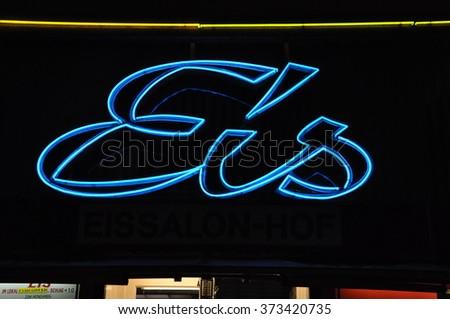 Ice Cream Eis Neon Sign Vienna Stock Photo Edit Now 373420735