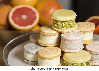 Ice Cream French Macaron Desserts with Sliced Pink Grapefruit