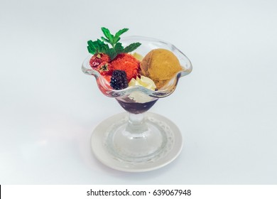 ice cream with fruits isolated
