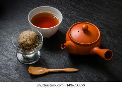 ice cream of japanese roasted green tea