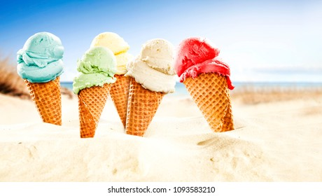 Ice cream on beach and free space for your text.