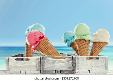 Ice cream on beach and summer time
